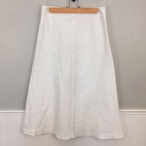 Talbots Linen Midi White Skirt
